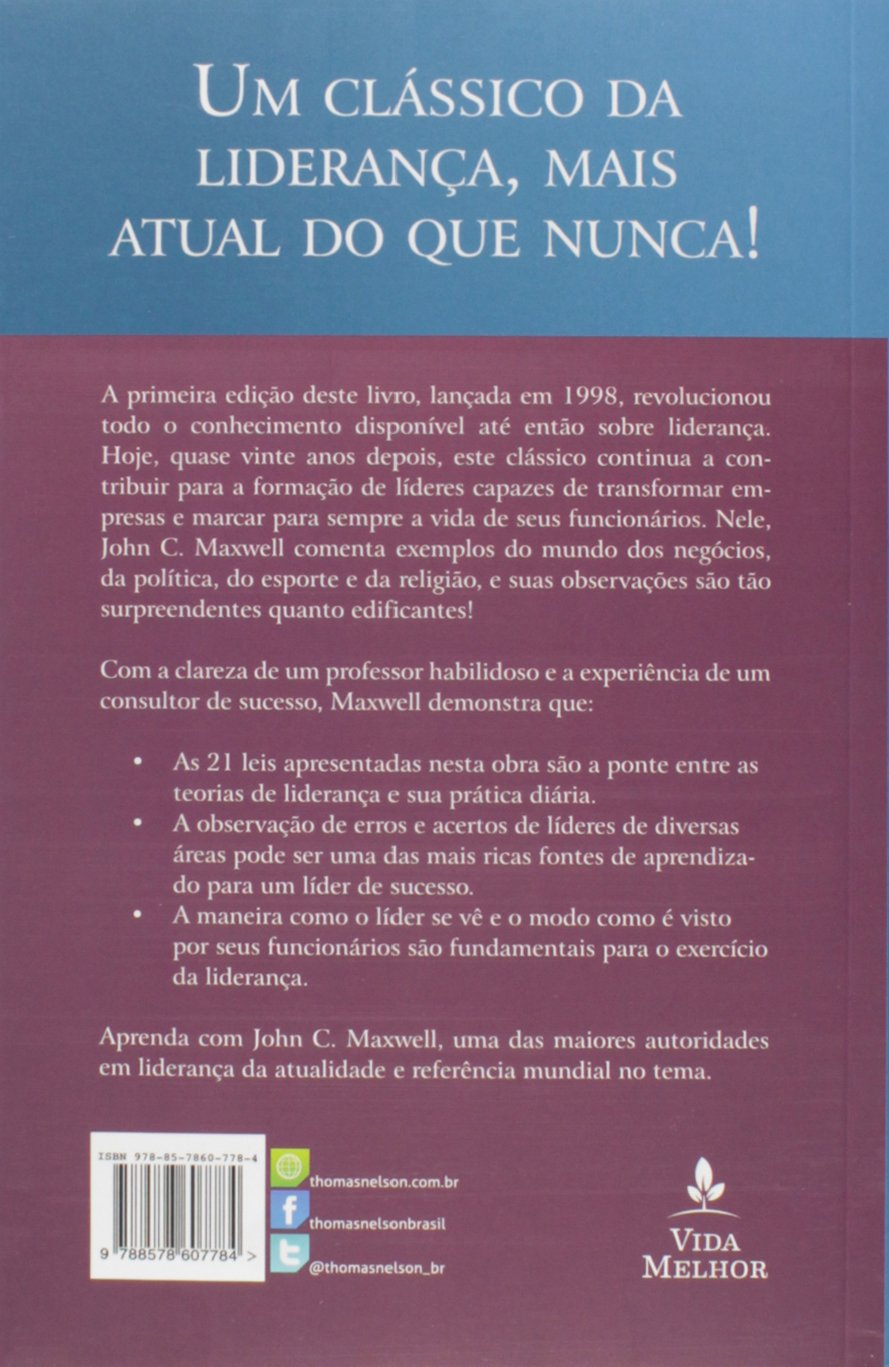 As 21 irrefutveis leis da liderana 9788578607784 livros na as 21 irrefutveis leis da liderana 9788578607784 livros na amazon brasil fandeluxe Gallery