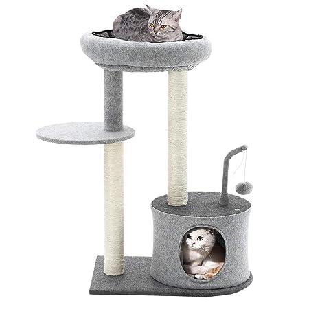 FEANDREA Árbol para Gatos, Rascador con Postes Recubiertos con Sisal, Nido Acolchado, Plataforma