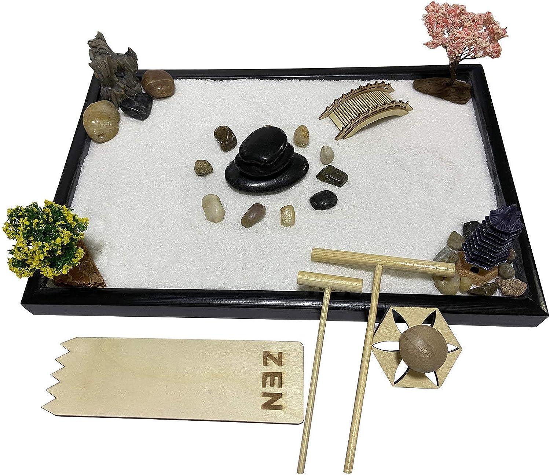 """Oritlife Japanese Relax Desktop Zen Garden Kit for Desk, Mini Meditation kit with Square Sandbox 11.8"""" x 8"""