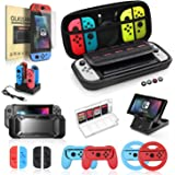 Nintendo Switch Accessories Bundle, 19 in 1 Essential Kit Compatible for Switch Games, Includes Joy-Con Steering Wheel…
