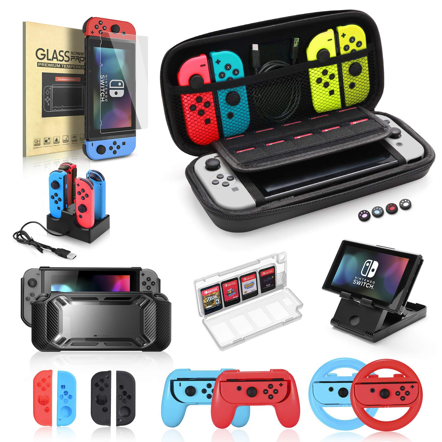 Nintendo Switch Accessories Bundle, 19 in 1 Essential Kit Compatible for Switch Games, Includes Joy-Con Steering Wheel, Controller Grip, Screen Protector, Charging Dock, Carrying Case, and PlayStand