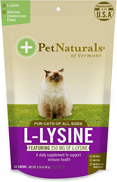 Pet Naturals of Vermont L-Lisina – Chucherías para Gatos, inmune y respiratorio Apoyo Suplemento, 60 Bite tamaño – Chucherías (3.17 oz): Amazon.es: Productos para mascotas