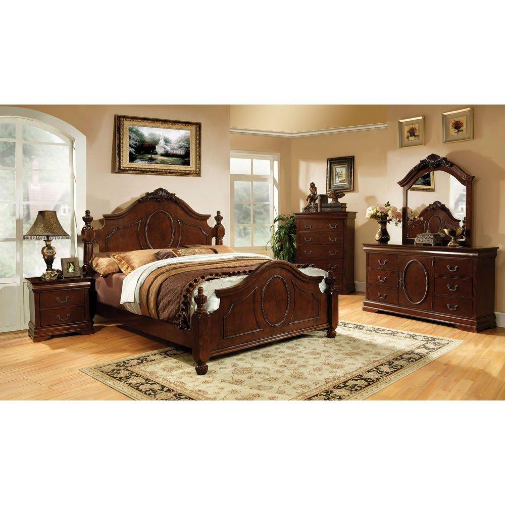 Velda English Style Warm Cherry Finish Eastern King Size 6 Piece Bedroom Set