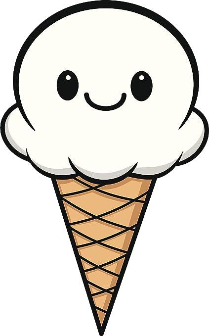 amazon com pretty white vanilla kawaii ice cream cone cartoon vinyl