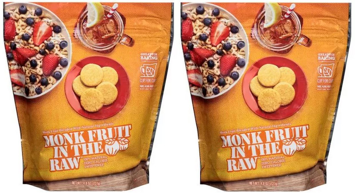 Monk Fruit in the Raw Sweetener, Sugar Substitute, 4.8 Ounce Bag, 2 Pack