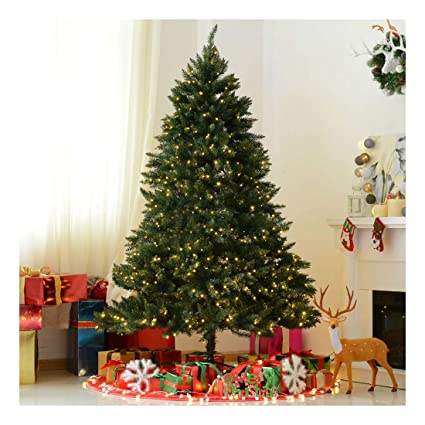 7ft artificial christmas tree 6 ft 7ft prelit artificial christmas tree spruce hinged 700 leds lights decorations amazoncom