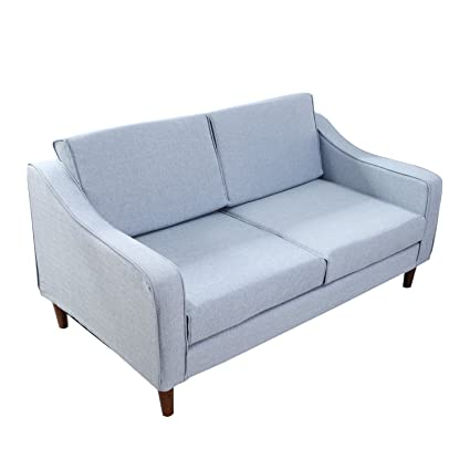 Stupendous Homcom Linen 2 Seater Sofa Double Seat Armchair Couch Chaise Lounge Chair Living Room Loveseat Lounger Modern Furniture Wooden Frame Detachable Cover Caraccident5 Cool Chair Designs And Ideas Caraccident5Info