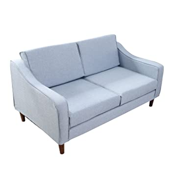 Homcom Linen 2 Seater Sofa Double Seat Armchair Couch Chaise Lounge