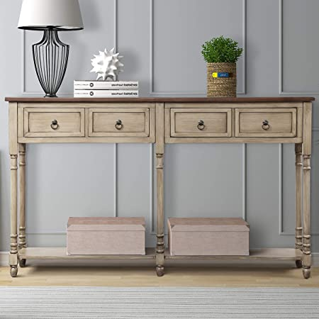 MIERES 1 Sofa Storage Console Entryway with Drawers and Shelf Rectangular Living Room Table Solid Wood Long Antique Grey , Type 5