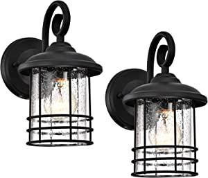 MICSIU Outdoor Wall Lantern 1-Light 2 Pack Exterior Wall Sconce Lamp Porch Light Fixture Waterproof with Clear Seedy Glass,Textured Black for Entryway, Home, Patio,Garage,Doorway