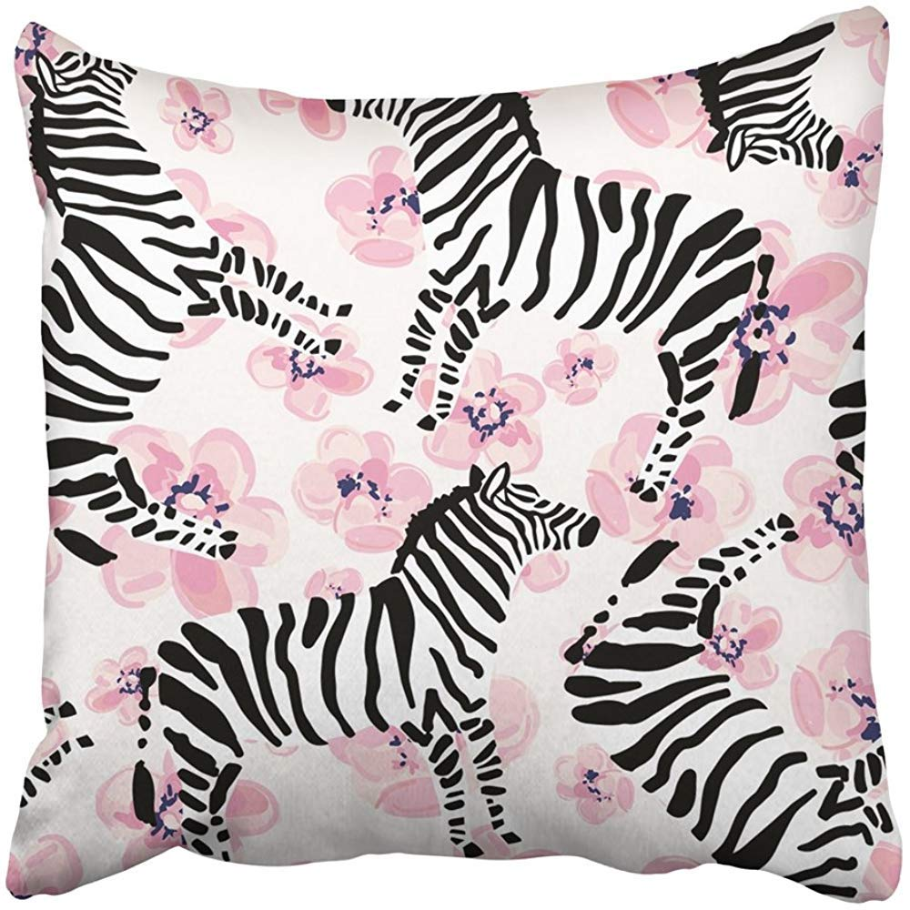 Throw Pillow Covers Print 18 x 18 Inch Black African Zebra on The Pink Flowers with Striped Safari Animal White Blossom Drawn Exotic Hand Square Zipper Polyester Home Sofa Decorative Case