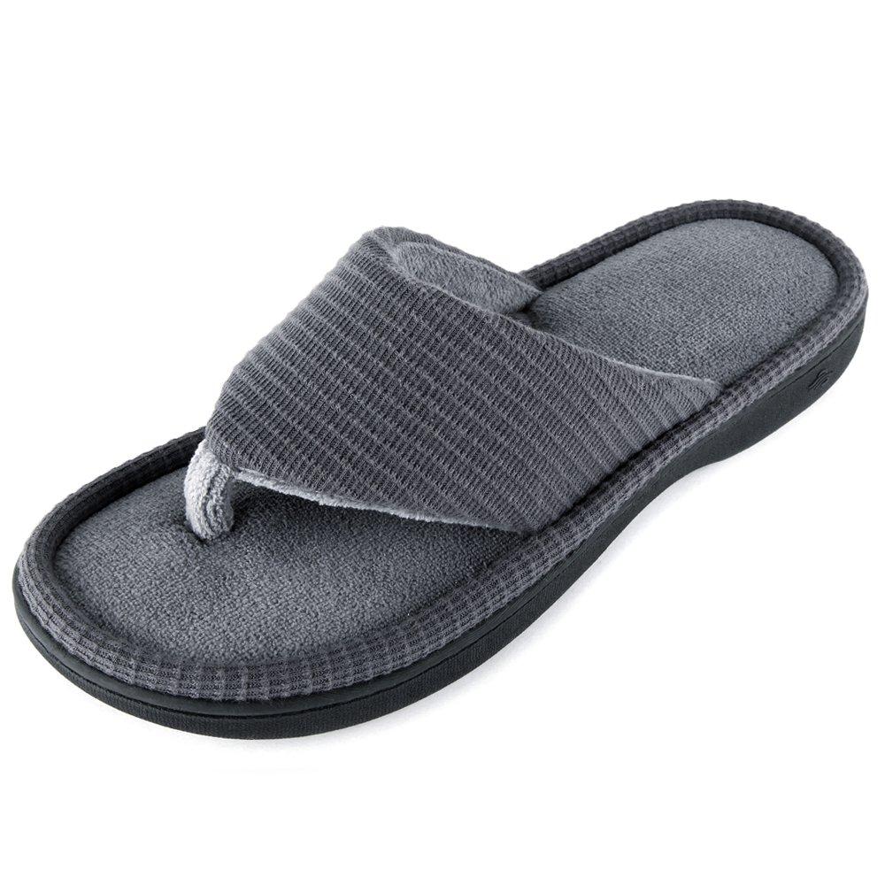 Wishcotton Men's Classic Memory Foam Spa Thong House Shoes Fluffy Flip Flop Slippers (L, Dark Grey)