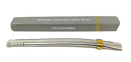 Novomates Easy Clean Yerba Mate Bombilla Straw Gourd Drinking Filter Straw – Mate Straw Food-Grade Stainless Steel Straw - 6.2