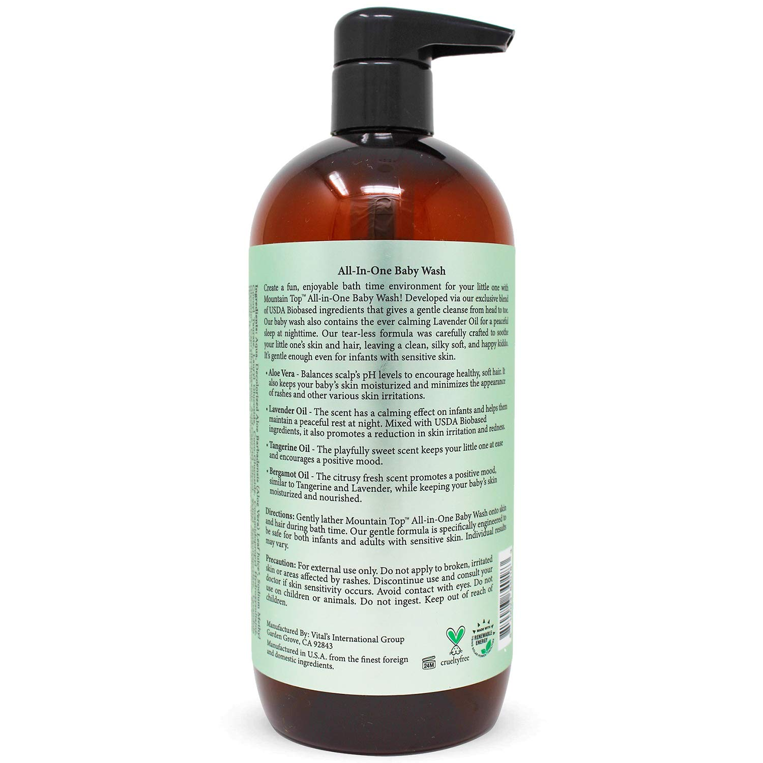 MOUNTAIN TOP All-in-One Premium Baby Wash - With USDA Biobased Ingredients, Sulfate-Free, Tear-Free, Hypoallergenic Natural 2-in-1 Baby Shampoo & Body Wash