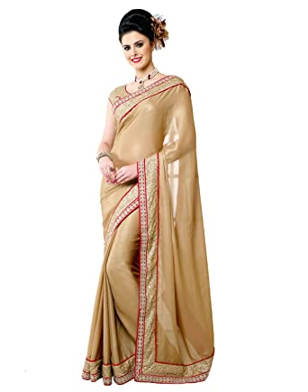 668aef9de34fc Samyakk Georgette Over All Design Pattern Saree for Women  Gold    Amazon.in  Clothing   Accessories