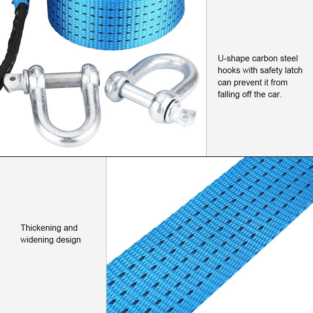 5m Akozon Cuerda de Remolque para coches de menos de 8 toneladas Tira reflectante Resistente y resistente a la intemperie Forma de U