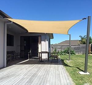 SUNNY GUARD 20' x 20' Sand Square Sun Shade Sail UV Block for Outdoor Patio Garden