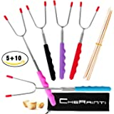 """Marshmallow Roasting Sticks Telescoping 34"""" Set of 5 Stainless Steel Extendable Smores Skewers Hot Dog Fork, Bonus 10 Bamboo Sticks, for Camping Fire Pit Campfire Bonfire Outdoor Cookware"""