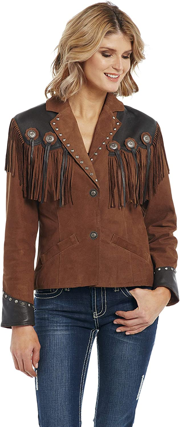 Ll18280-90 Cripple Creek Womens Hand-Sanded Two-Tone Snap Concho Fringe Leather Jacket