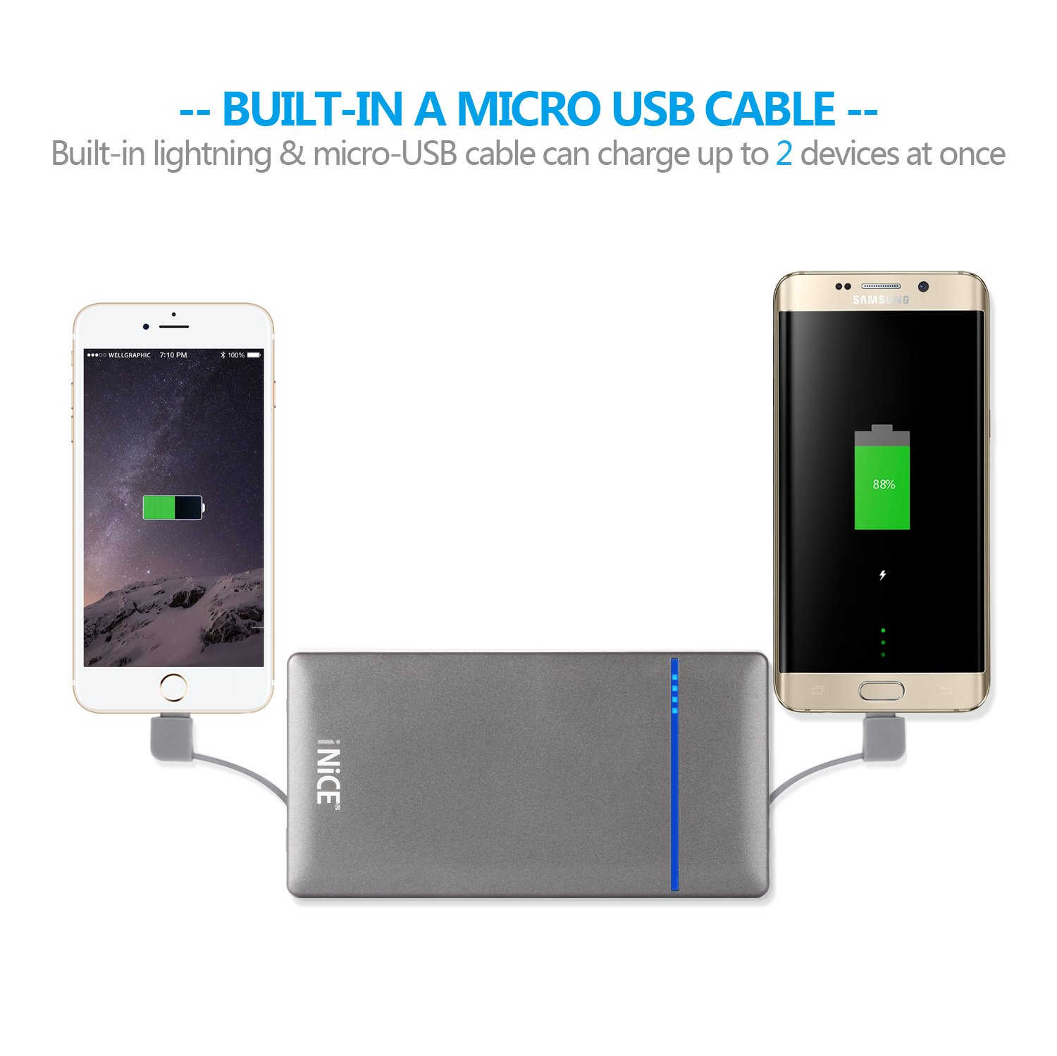 Inice Portable Bank 10000mah Power External Battery With Charger Bolt 21a Fast Charge 3in1 Cable Built In Lightning Micro Usb Travel For Iphone 7 7plus 6 6s Plus And