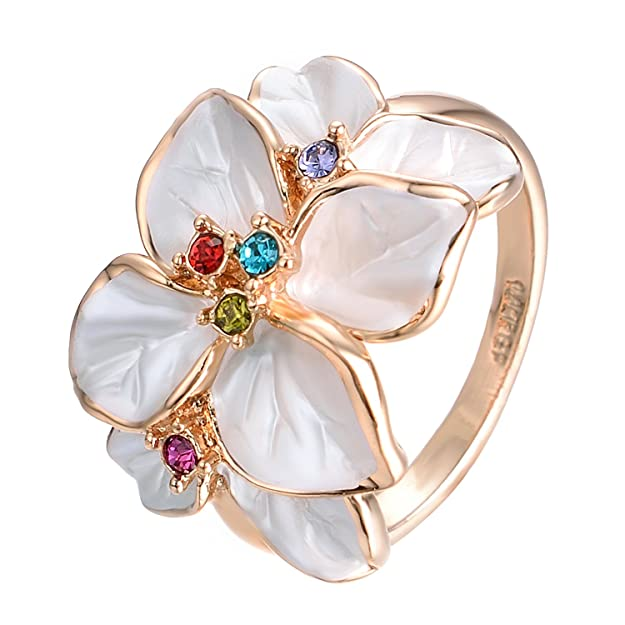 Vintage Style Jewelry, Retro Jewelry Yoursfs Flower Rings for Women Colorful Austrian Crystal White Enamel Statement Ring $12.74 AT vintagedancer.com