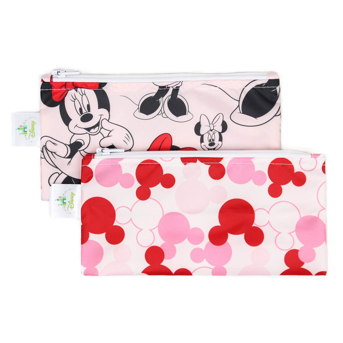 Bumkins Disney Baby Reusable Snack Bag, Minnie Mouse Icon, Small, 2 Count SBS2-DMN1