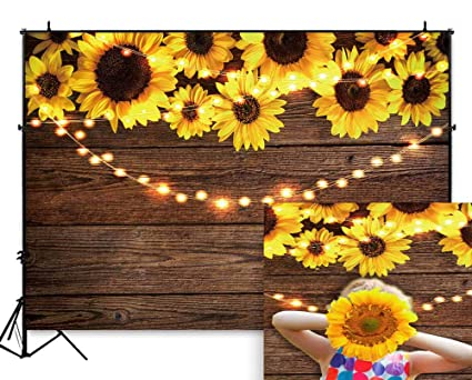 ea6e06498b58 Funnytree 7X5FT Sunflower Wood Texture Backdrops for Photography Rustic  Child Baby Shower Birthday Party Background Banner