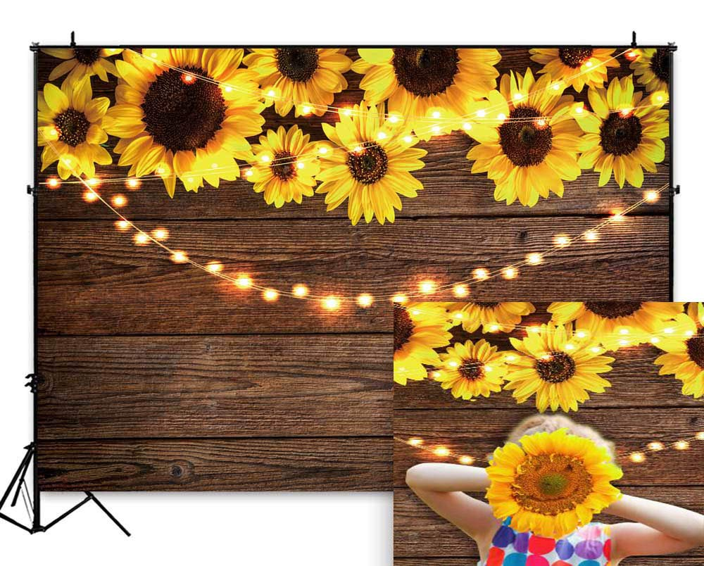 Funnytree 7X5FT Sunflower Wood Texture Backdrops for Photography Rustic Child Baby Shower Birthday Party Background Banner for Picture Photo Studio Photobooth Decoration