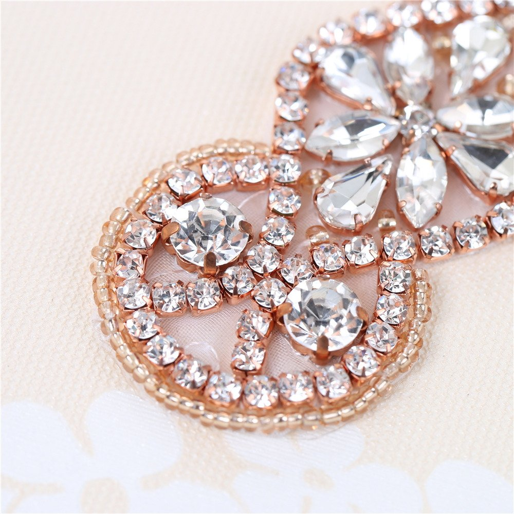 XINFANGXIU Rose Gold Bridal Rhinestone Appliques Sash Crystal Wedding Dress Belt Sew on Iron on for Formal Dress by XINFANGXIU (Image #4)