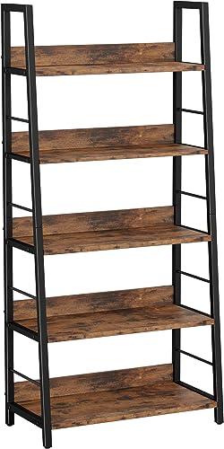 IRONCK Industrial Bookshelf 5-Tier 59″ H Ladder Shelf