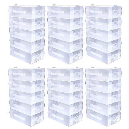 schramm® 30 unidades, zapatos Cajas transparente 30 x 18.5 x 9.7 cm apilable plegable