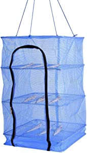 Finlon Drying Rack Folding Fish Mesh 4 Layers Fish Net Blue