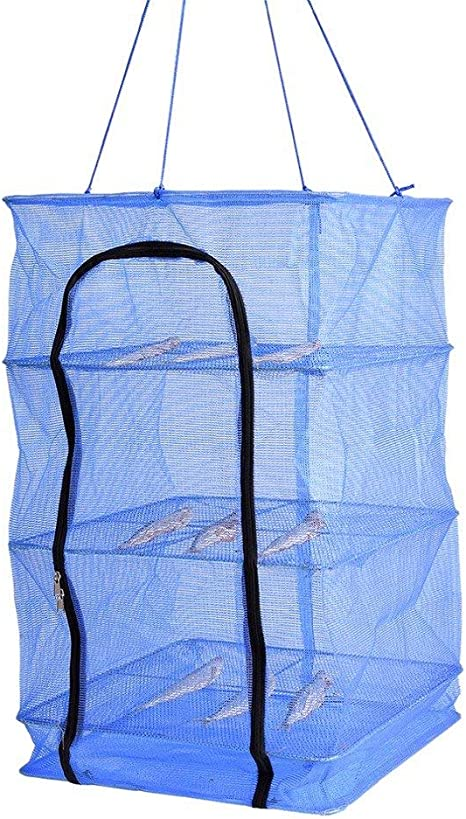 Foldable 4 Layers Fish Net Drying Rack Folding Mesh Dishes Hanging Hanger Dryer