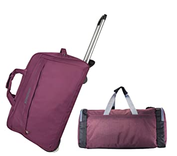 3G Saffari Polyester 24x12x15 cm Purple Trolley with Campus Duffle Travel Bag
