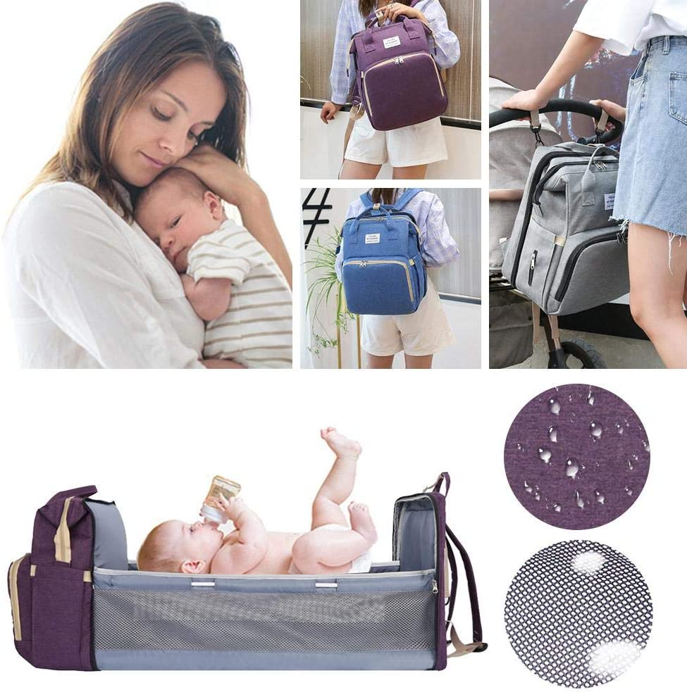 Portable Diaper Changing Station Mummy Bag Folding Baby Travel Backapack With Mattress Watermelon Portable Diaper Bag Multifunctional Baby Travel Cot Travel Infant Crib For Mom Dad Baby 40/×31/×20cm