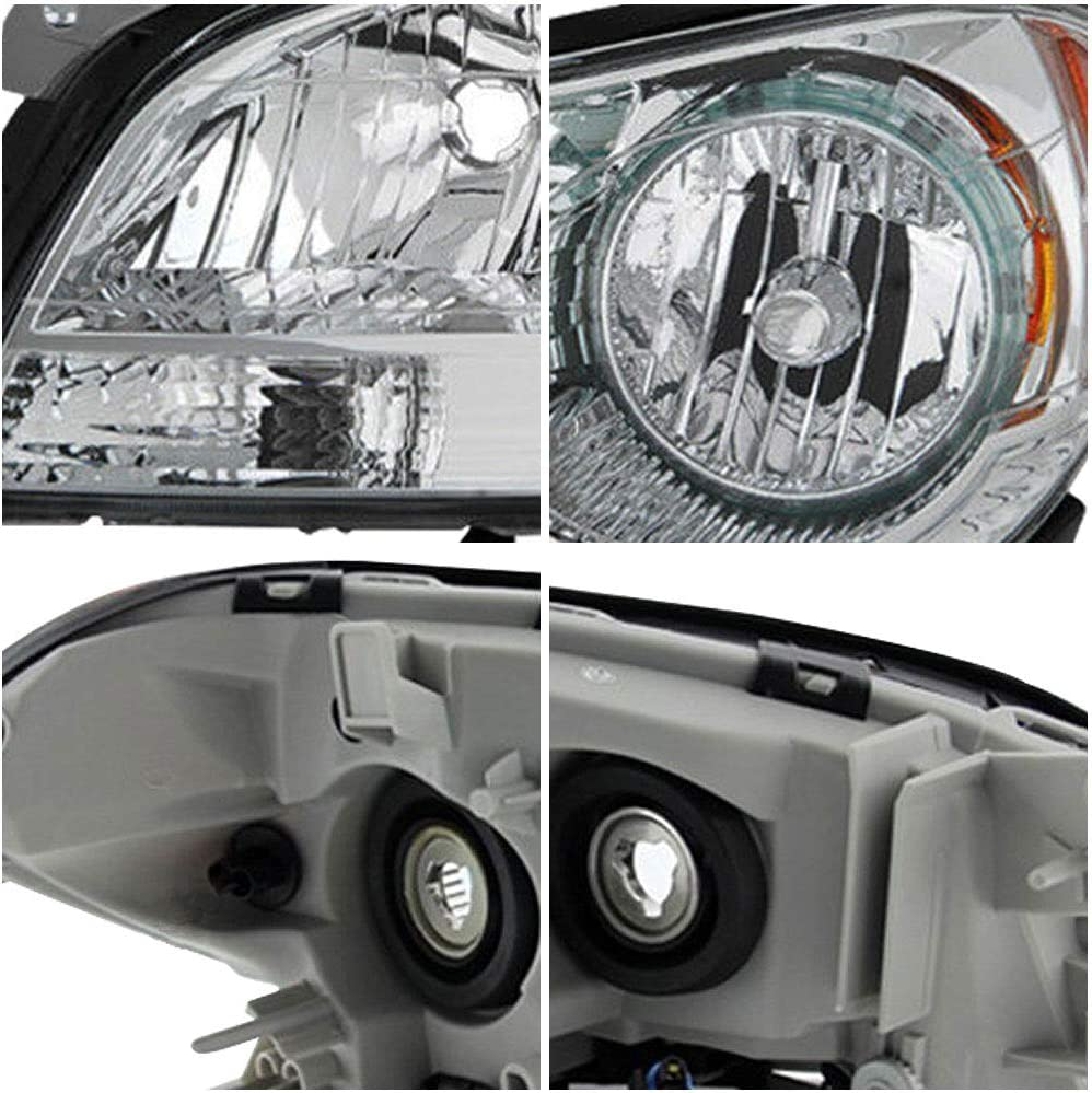2010//2011// 2012 Chevy Malibu Factory Style Headlamp Front Light Pair Driver and Passenger Side Headlight Assembly Compatible with 2008//2009 Chrome