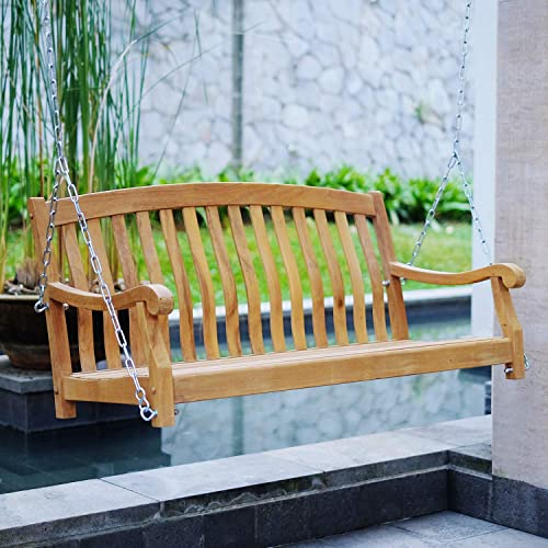 Cambridge Casual Solid Teak Wood Arie Porch Swing with Stainless Steel Chain, Rocker