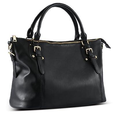 e4ad80bb9 Plambag Large Tote Bag for Women, Faux Leather Laptop Handbag Purse (Black)