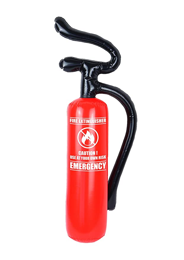 Fancy Dress Prop Blow Up Inflatable Fire Man Mens Extinguisher Red Emergency