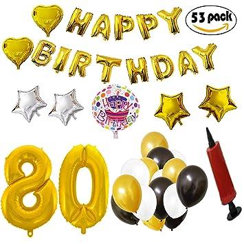 COTIGO - Globos Cumpleaños Happy Birthday #80 Color Dorado, Año 80