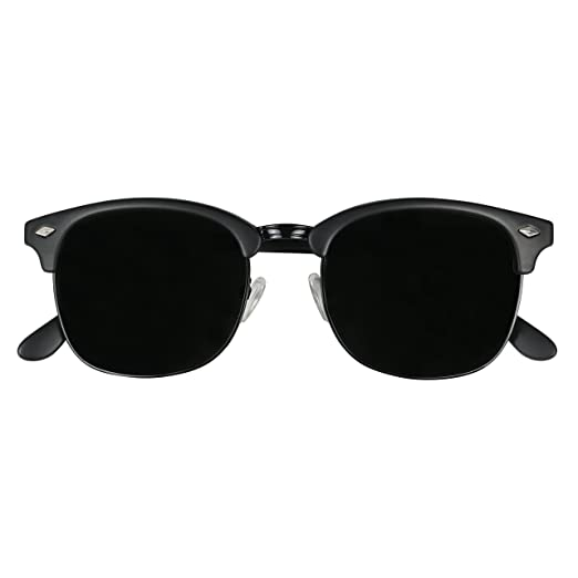 8a2ee00278 ShadyVEU - Exclusive Super Dark Retro 80 s Semi Half Rimless Round Classic  Sunglasses (ALL BLACK