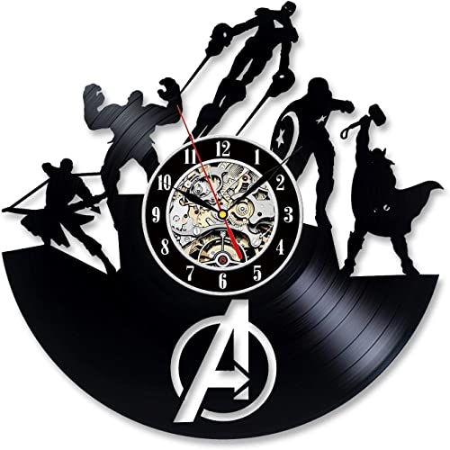La Bella Casa Avengers Marvel Superheroes Team Art Decoration Vinyl Record Wall Clock – Get Unique Wall Home Decor – Gift Ideas for Him and Her – Original Handmade Vintage Gift