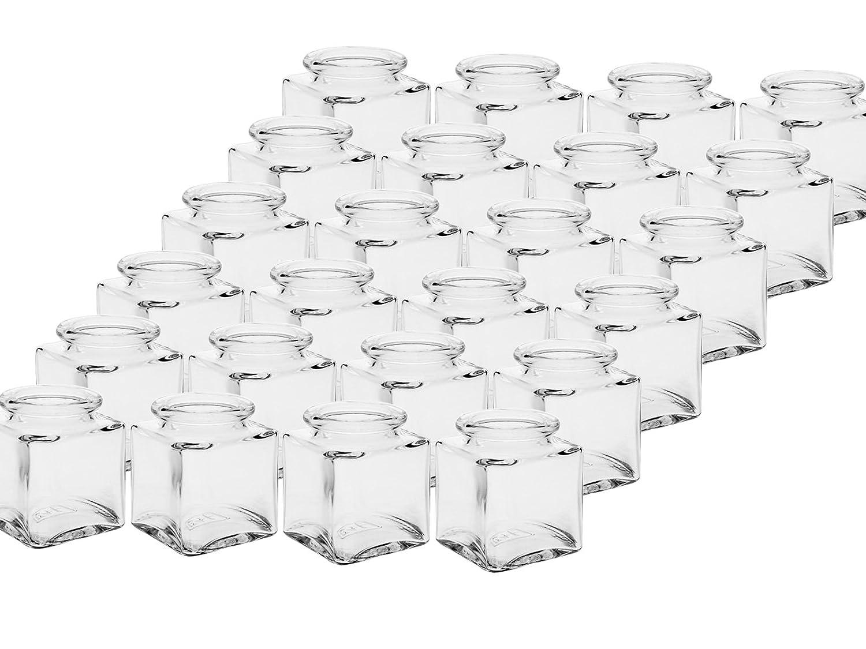 Juego de vasos de especias con Press de corcho, 10 piezas, Capacidad 50 ml, vidrio de Cub rectangular cristal de gran calidad, lata Cristal Tarro ...