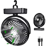 LORDSON 10000mAh Battery Camping Fan, USB Rechargeable Portable Mini Handheld Fan with LED Lantern & Hanging Hook 42 Max Work
