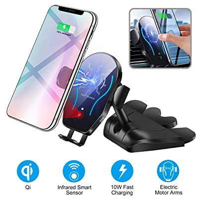 Car CD Player Slot Wireless Charger Phone Mount-Automatic Infrared Smart Sensing Qi 10W 7.5W Fast Wireless Charging Universal Holder for Cell Phone,Including Air Vent Cradle: Home Audio & Theater