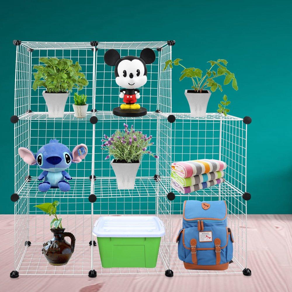 Funtell 8-Cube DIY Wire Grid Bookcase, Multi-Use Modular Storage ...