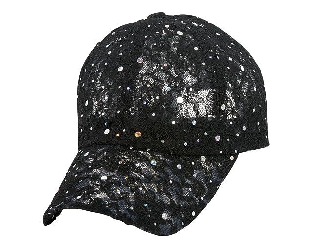 31e00a08423 Sequin Lace Glitter Adjustable Baseball Cap - Black at Amazon ...