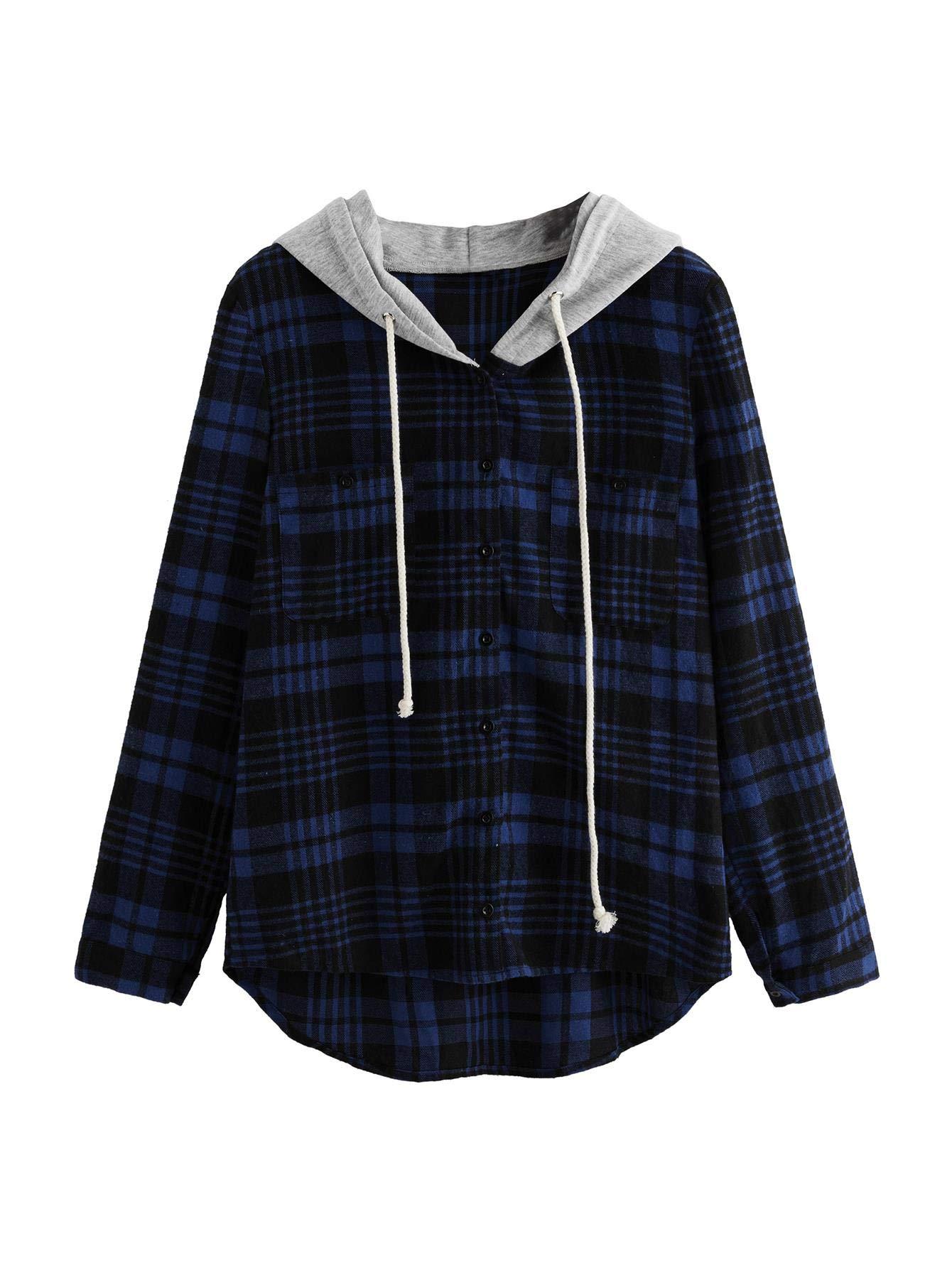 SweatyRocks Women's Casual Plaid Hoodie Shirt Long Sleeve Button-up Blouse Tops (Medium, Navy)