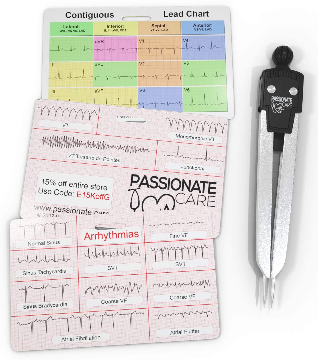 EKG Calipers Plus ECG Rhythm Interpretation Badge Cards. The Perfect Divider Combination. It Is The Ultimate 12 Lead Cheat Sheet For Nurses and Medical Students Alike. Caliper and Flash Cards. Ideal by Passionate Care