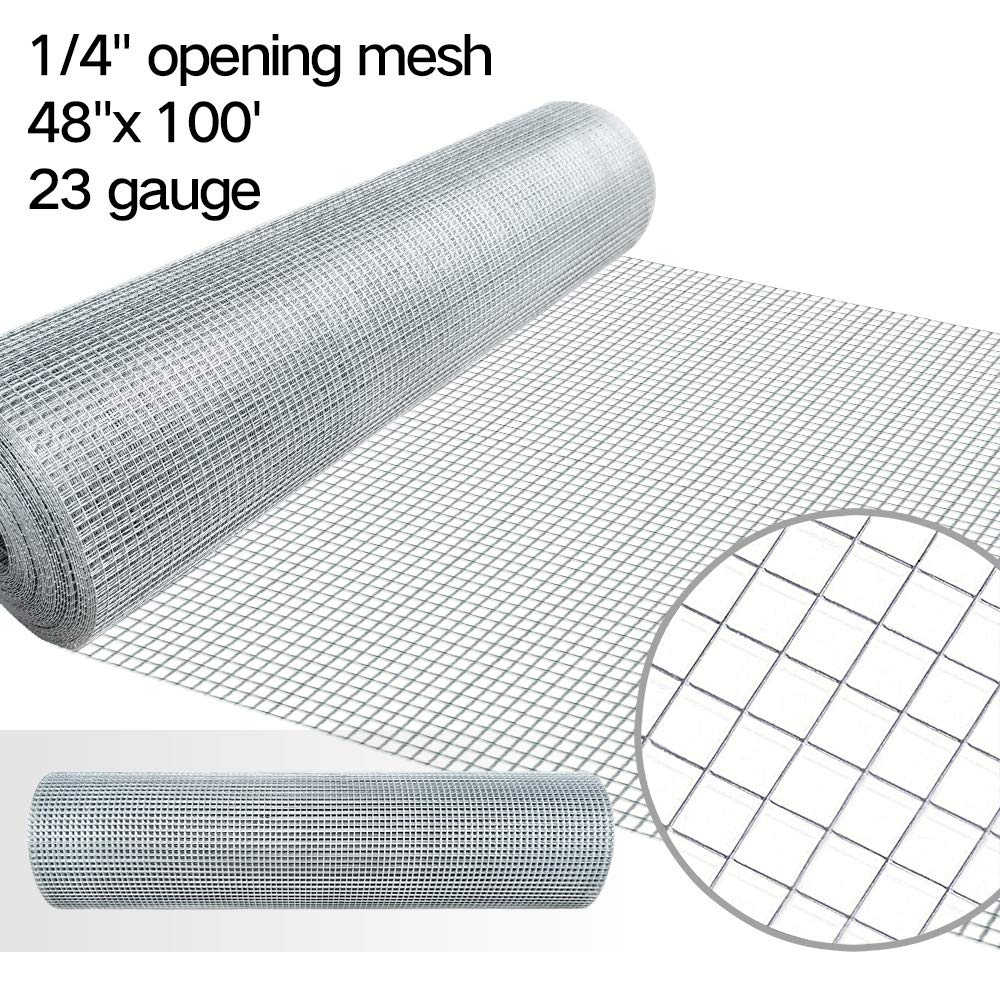 48x50 Hardware Cloth 1/4 inch Square Galvanized Chicken Wire Welded Fence Mesh Roll Raised Garden Bed Plant Supports Poultry Netting Cage Wire Snake Fencing Gopher Proof Racoons Rabbit Pen Window AMAGABELI GAEDEN&HOME hardware01
